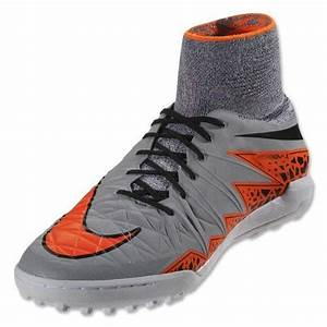 Nike Hypervenom X TF Turf Soccer Shoes Wolf Grey Orange