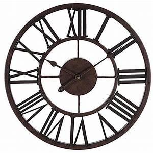"""Decorative 17"""" Wall Clock - Metal - Roman Numeral Wall"""