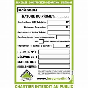 Panneau De Permis De Construire : panneau permis de construire 1 2 x 0 8 m leroy merlin ~ Dailycaller-alerts.com Idées de Décoration