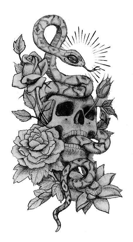 Skull Snake And Roses Tattoo Designs | Tattoos | Tattoos, Snake tattoo, Skull tattoos