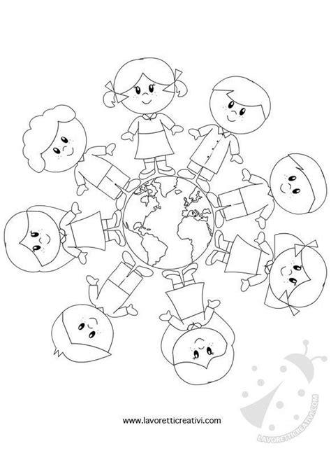 disegni bambini mondo da colorare bambini intorno al mondo da colorare