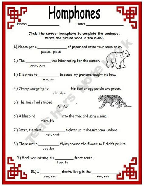 homonyms worksheets for third grade homophones1000