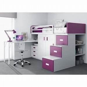 Lit Superposé Escalier : lit superpos train avec tiroirs bureau armoire et ~ Premium-room.com Idées de Décoration