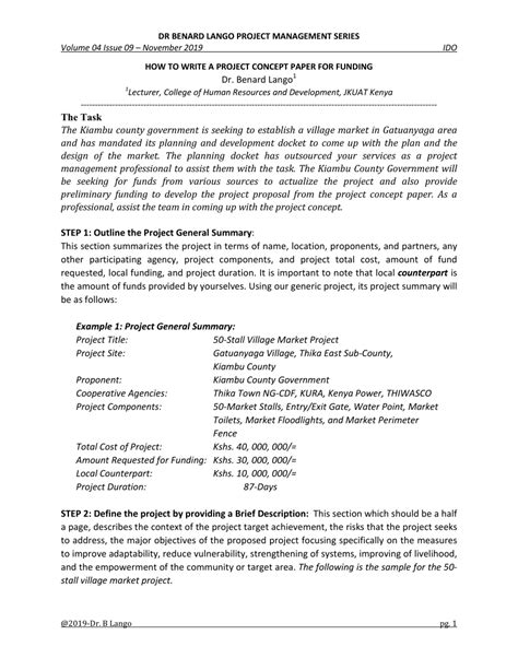 The goal of writing a concept paper is to explain a particular idea to the audience objectively. (PDF) HOW TO WRITE A PROJECT CONCEPT PAPER FOR FUNDING