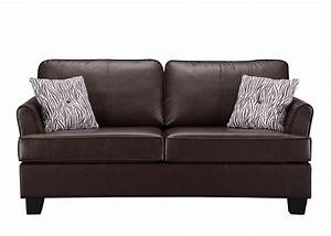 Kings brand furniture faux leather sofa hide a bed sleeper for Full size leather sofa bed