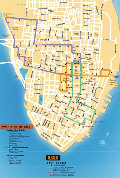 detailed map   charleston dash trolley routes