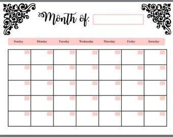 fill in calendar template fill in calendar etsy