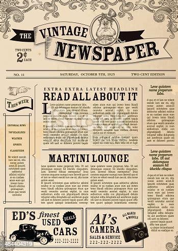 vintage newspaper layout design template stock vector art
