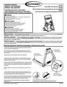 Suncast Hose Reel Cart Instruction Manual
