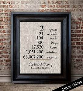 cotton anniversary gift for her wedding anniversary print With 2 year wedding anniversary gifts for her