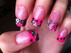 Neon Pink and Black Acrylic Nails - YouTube