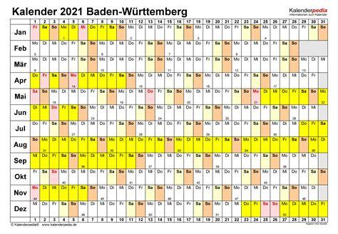 Hier finden sie den kalender 2021 mit nationalen und anderen feiertagen für deutschland. Kalender 2021 Baden-Württemberg: Ferien, Feiertage, Word ...