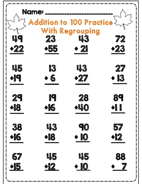 addition without regrouping worksheet for grade 1 second grade fall math ela activity set common