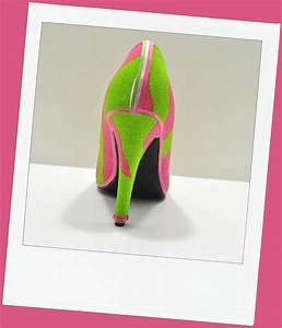 "Back of pink and green zebra print ""Pinky"" pumps 