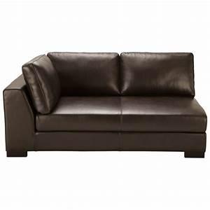 canape manchot cuir gauche convertible marron terence With tapis chambre bébé avec canape cuir marron maison du monde