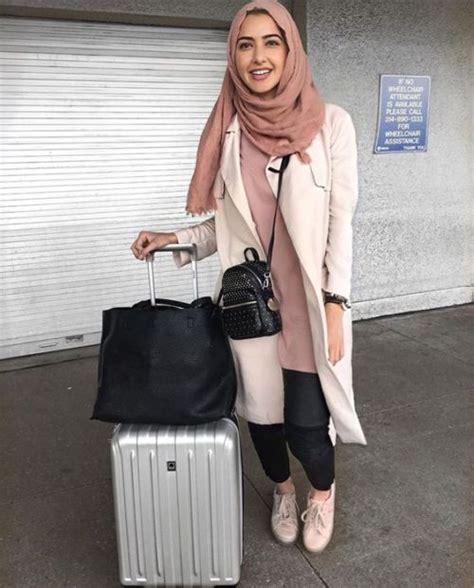 long blush coat classy hijab traveling hijab style