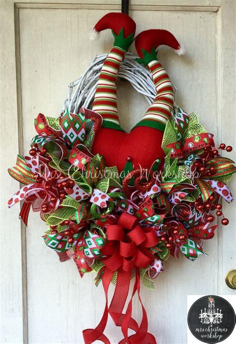 christmas grapevine wreath elf wreath  legs deco mesh