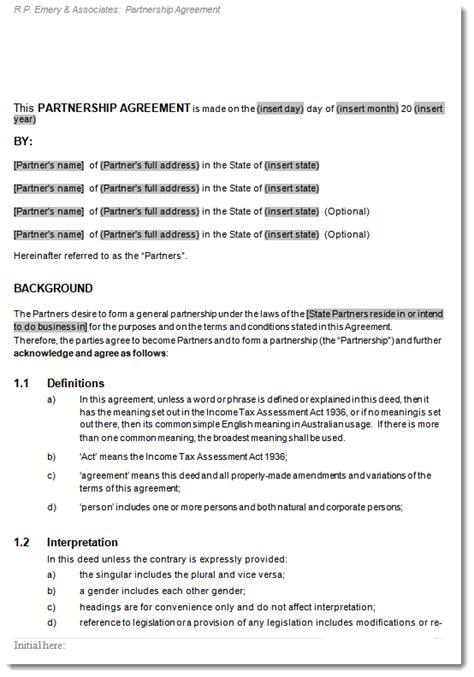 general partnership agreement deed  partnership contract