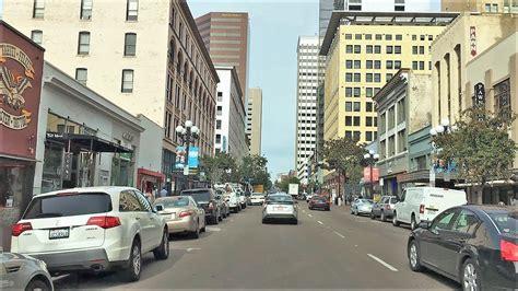Driving Downtown San Diego City California Usa