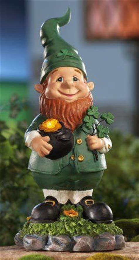 solar lighted leprechaun garden gnome by collections