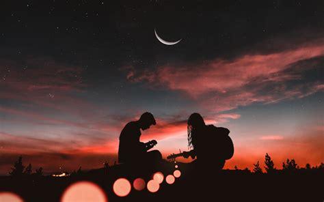 wallpaper couple playing guitar sunset  moon