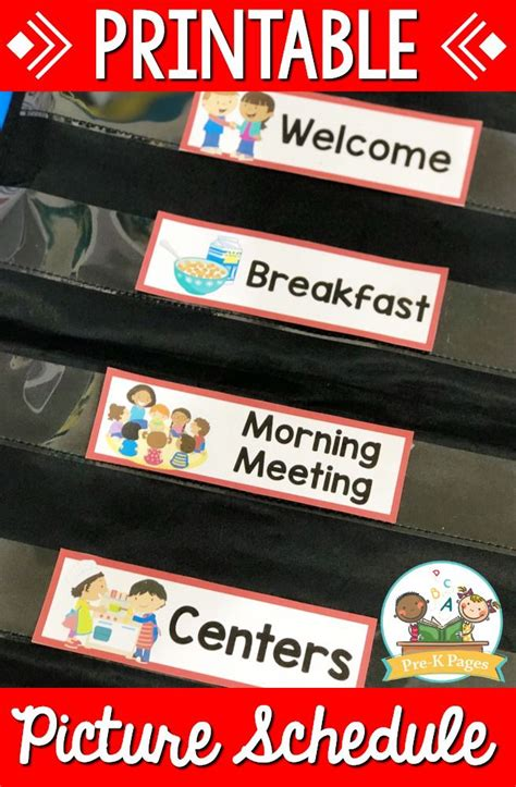 editable picture schedule cards  images preschool