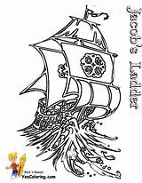 Ship Pirate Coloring Tall Ladder Sailing Pirates Boats Yescoloring Drawing Seas sketch template