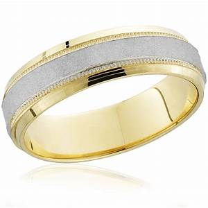 mens hammered two tone 14k white yellow gold wedding With mens yellow gold wedding rings