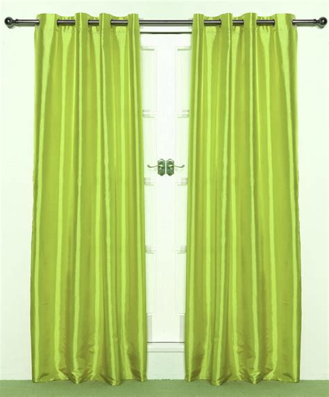pair of bright lime green taffeta eyelet curtains 55 quot wide