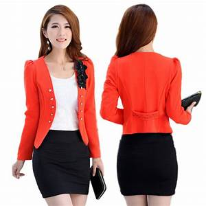 Women Office Lady Short Blazer Slim Suit Jacket Coat Long ...