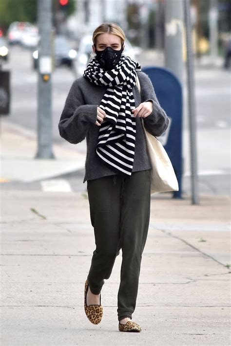Street Style - Emma Roberts Wearing a Mask Out Shopping in ...