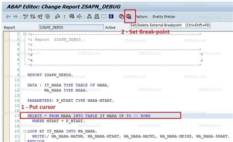 mara table in sap debugging in sap abap programming modularization