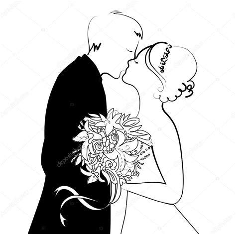 clipart sposi sfondo di matrimonio in bianco e nero vettoriali stock