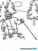 Coloring Skiing Ski Discovery Template Jump Templates Popular sketch template