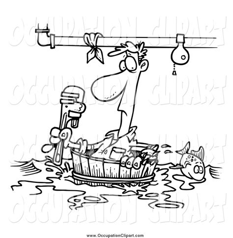 14785 plumber clipart black and white plumber with toolbox coloring page retrocoloring