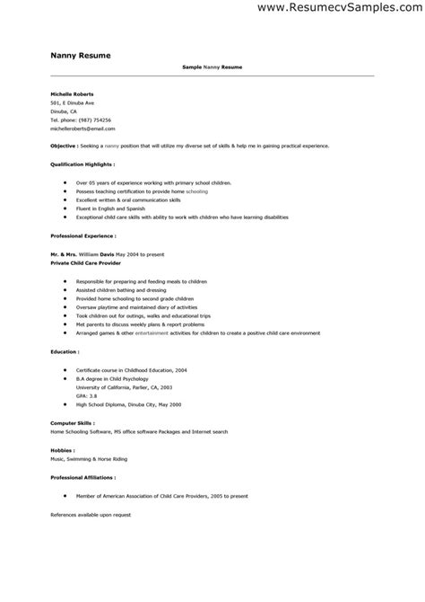 Nanny Resume Sles by We Provide You The Best Essay Craigslist Objective For