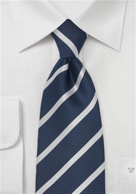 navy blue silver striped silk tie