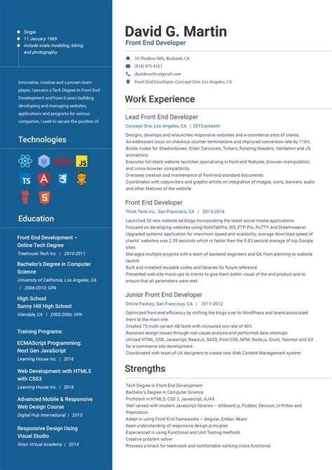 Front End Web Developer Resume by Front End Web Developer Resume Front End Developer Resume