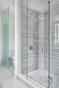 Transitional, Bathroom, Featuring, A, Glass, Enclosed, Walk
