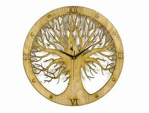 Tree, Design, Laser, Cut, Clock