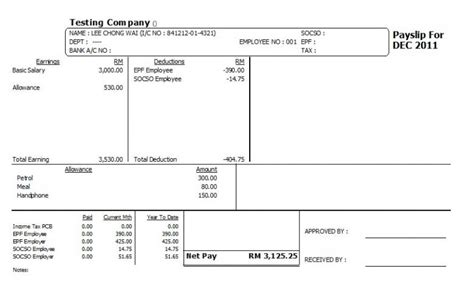 Payslip Template Malaysia by Comfortable Payslip Template Photos Resume Ideas