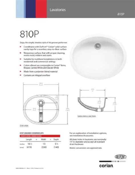 Corian 810 Sink Dwg by Dupont Corian 174 Sinks Products Aurivia Granite