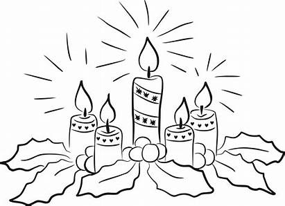 Candle Advent Clipart Candles Coloring Outline Wreath