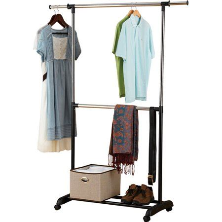 laundry rack walmart mainstays adjustable 2 tier rolling garment rack chrome