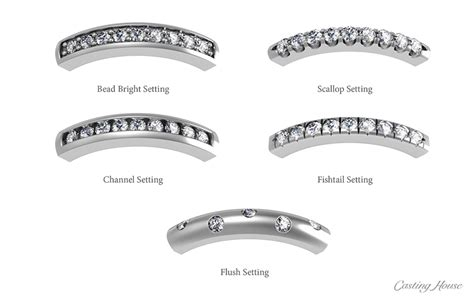 diamonds settings rings  band types casting house