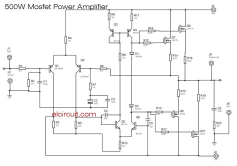 Mosfet Power Amplifier Electronic Circuit
