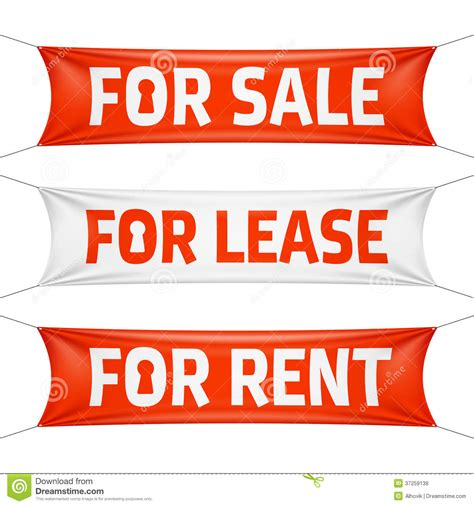 In many cases if you lease to own you wind up paying double or triple the initial amount when all is said and done. Fore Sale, For Lease And For Rent Banners Royalty Free Stock Images - Image: 37259139