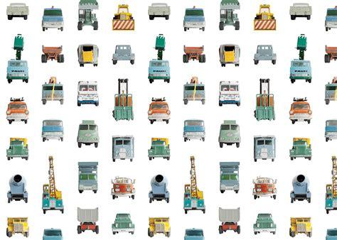 papier peint pour chambre garcon avec voitures de chantier
