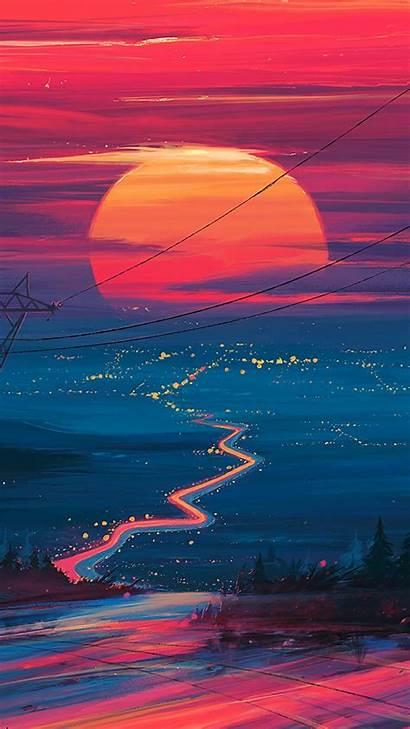4k Wallpapers Iphone Landscape Sunset Horizon Scenery