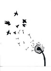 Dandelion Turning into Birds Drawing